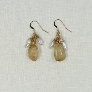 Polished Citrine with Keshi Pearl Drop Earrings. Hand forged shepard's hook earrings