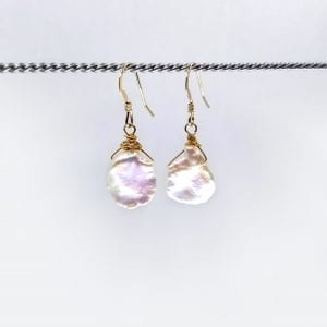 """Drop earrings with white Keshi pearls. 1..25"""" long with hand forged shepards hook ear wires"""