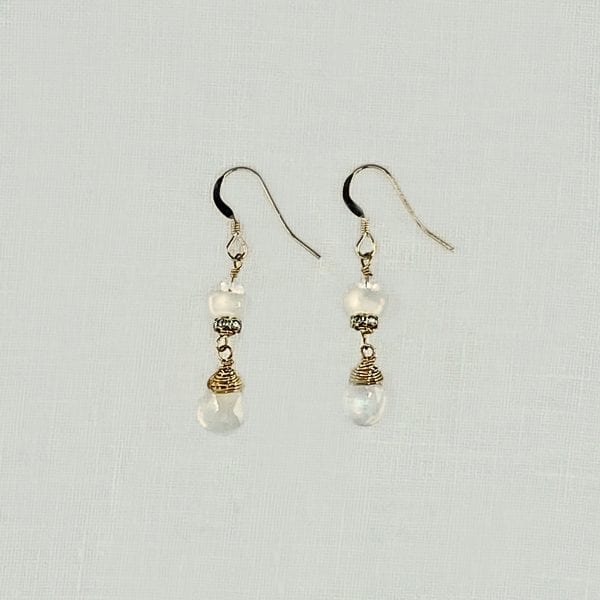 """Moonstone Drop Earrings wirh two moonstone briolettes on each earring. 1.25"""" long with hand forged shepards hook ear wires"""
