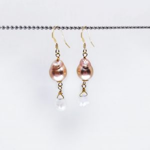 "Baroque Pearl and Moonstone drop earrings. Champagne colored baroque pearls top moonstone briolettes. 1.5"" long with hand forged shepards hook ear wires"