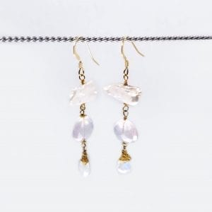 "Keishi Pearl Drop Earrings with rose quartz and moonstone briolettes. 2.25"" long with hand forged shepards hook ear wires"