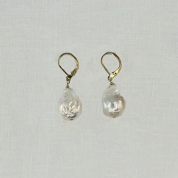 "Baroque Pearl Drop Earrings. White baroque pearls are set with lever back holders. 1.5"" long"