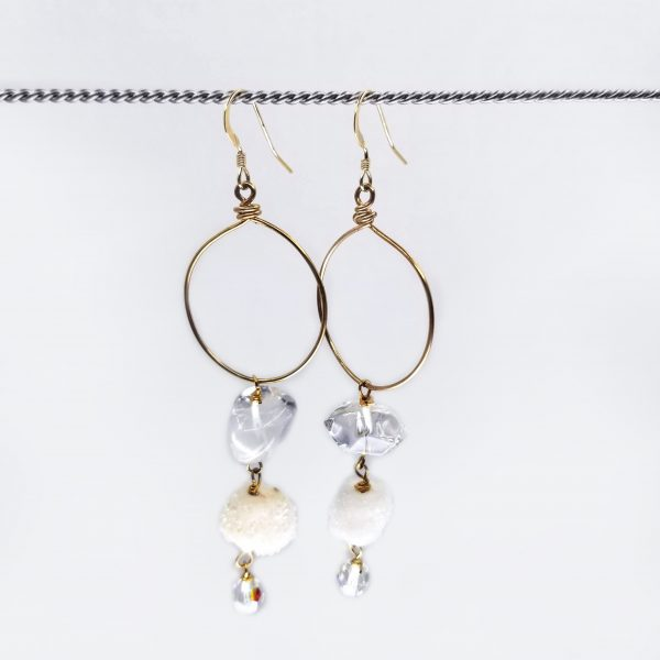 Rock Crystal and White Drusy Quartz earrings