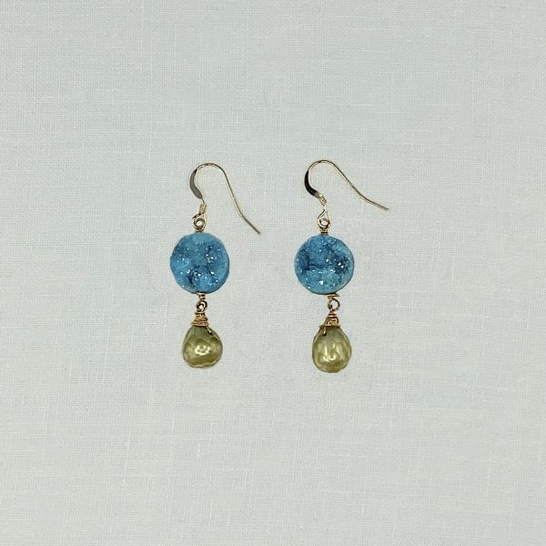 "Blue Druzy Quartz and Green Baroque Pearl earrings in a simple  drop earring. 1.5"" long with hand forged gold filled shepards hook ear wires."