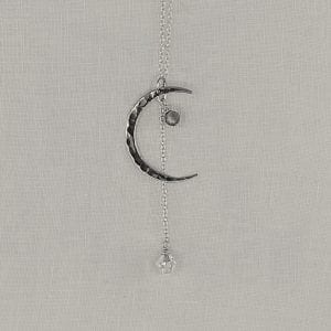 """Sterling Silver Crescent Moon necklace with Labradorite accent and Crystal Drop. Sterling silver chain has a finished length of 24"""" long."""