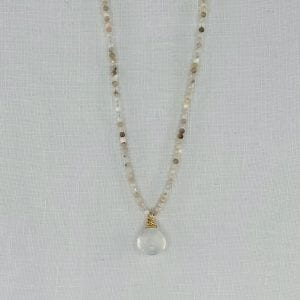 "Moonstone briolette is the centerpiece of an 18"" long necklace with 3mm mixed stone beads."