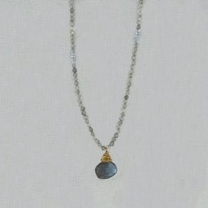 "Labradorite briolette is the centerpiece of an 18"" long necklace with 3mm labradorite beads."