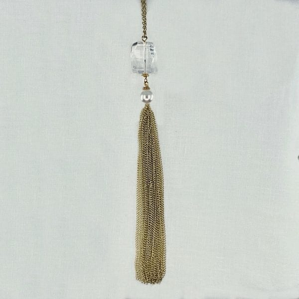 """Rock crystal and baroque pearl drop tassel necklace. Adjustable gold filled chain has a finished length of 26"""" long."""