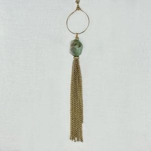 """Chrysoprase stone is suspended from a hand for5ged hoop and finished with tassles. Adjustable gold fille chain has a finished length of 26"""" long."""