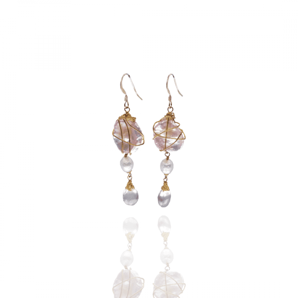 Keshi Pearl Wire Wrapped Earrings