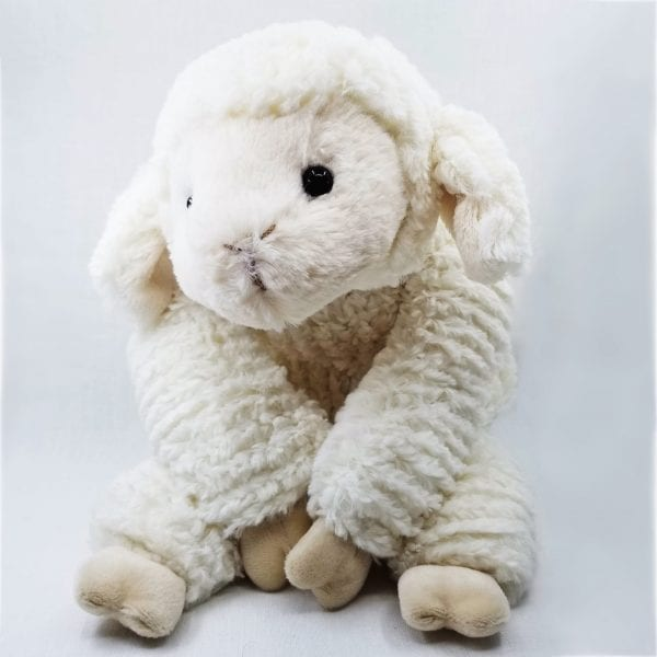 "Soft, weighted plush lamb made with soft ribbed fur. Weighted and can be posed in three positions: lay flat, sit up and drape. Machine wash and air dry. Size: 17"" L"