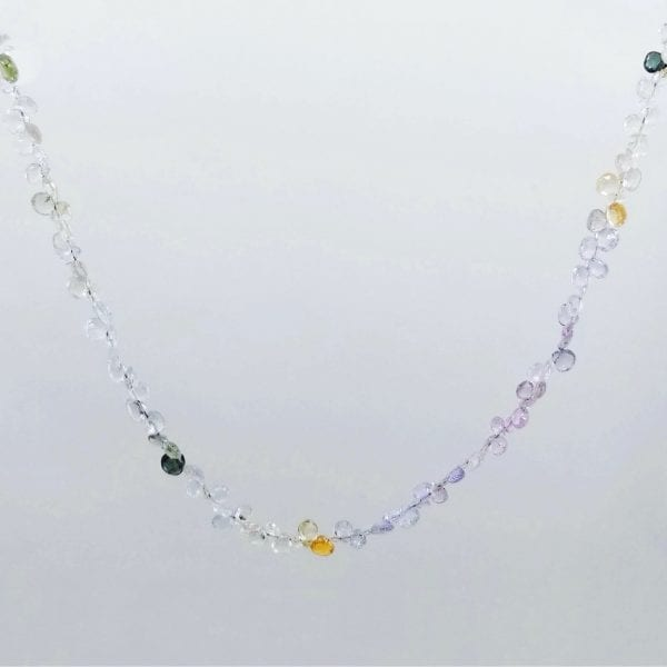 """Multi-color pastel sapphire necklace. Sapphires are briolette cut and the length is 16"""" with a 2"""" extender chain."""