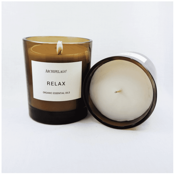 Calming and relaxing, the Relax Aromatherapy candle should be lit 20 minutes prior to bedtime to envelope the room with sleep-inducing fragrance. Size: 10 oz; burn time: 60 hours