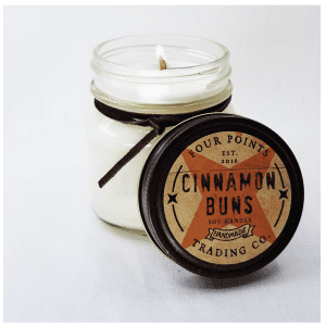 The smell of freshly baked cinnamon rolls in a soy wax candle. Size: 8 oz; burn time: 65 hours
