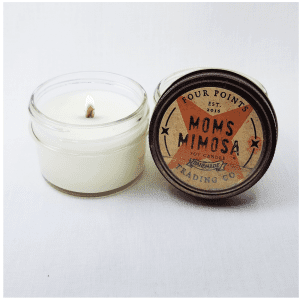 Travel candle with the scent of Mom's favorite brunch drink: Mimosa. Size: 4 oz; burn time 32 hours.