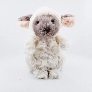 "Small lamb made with super soft plush fur. Machine wash, air dry. Size: 7"" H"