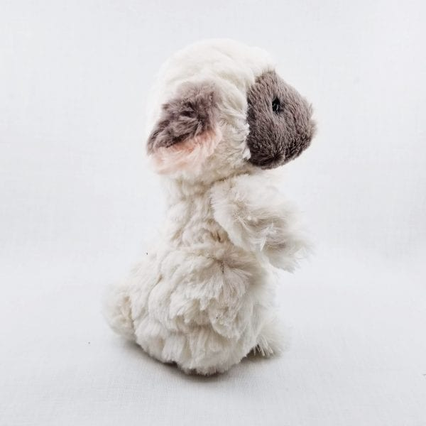 """Small lamb made with super soft plush fur. Machine wash, air dry. Size: 7"""" H"""
