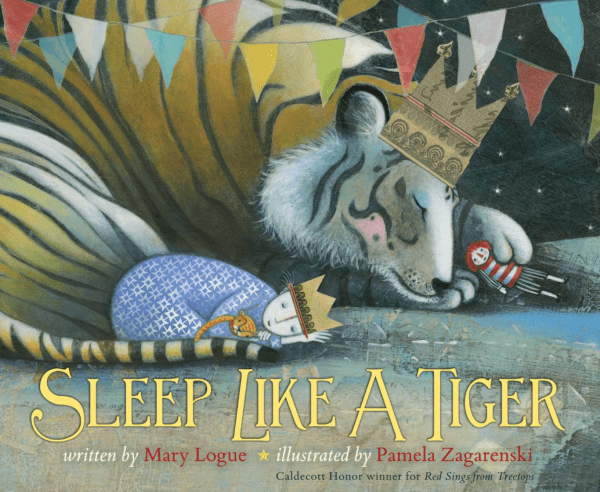 "Children's book titled ""Sleep Like a Tiger"" about a not-so-sleepy young girl and bedtime."