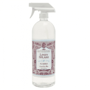 Plumeria scented linen splash to spray on pillows and bedding. 32 fluid ounces