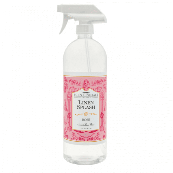 Rose scented linen splash to spray on pillows and bedding. 32 fluid ounces
