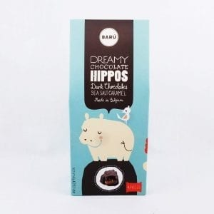 Hippo shaped chocolates filled with a Sea Salt Caramel filling. 4 pc box, 2.1 oz