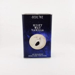 Milky Way Vanilla Hot Chocolate Mix. Mix with water or milk. 8 oz reusable tin