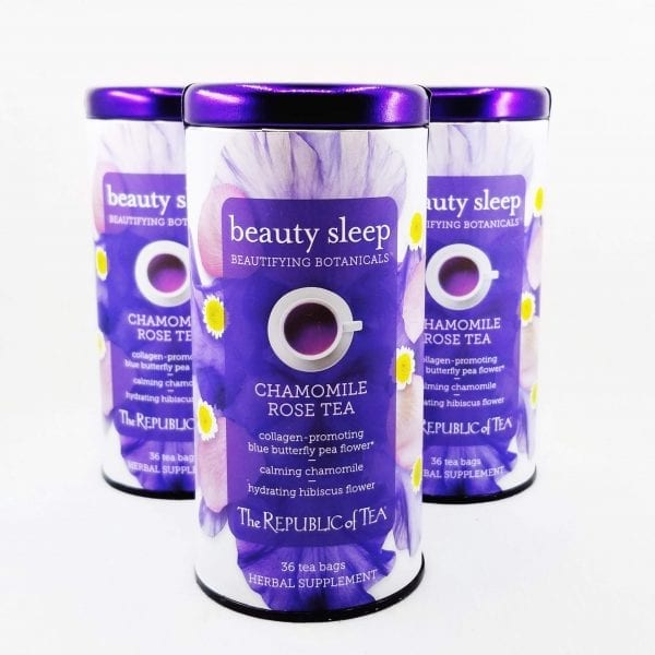 Beauty Sleep tea combines a proprietary blend of botanicals and herbs to hydrate and improve skin's complexion. 36 individual teabags