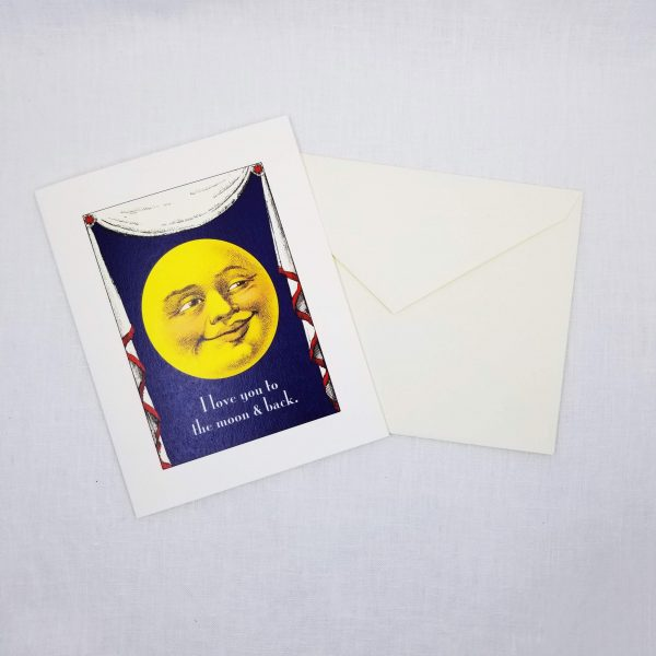 Greeting card: I love you to the moon and back on front, inside is left blank for a personal message.