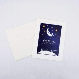 Greeting card: Thank You, You're Stellar on front, inside is left blank for a personal message.