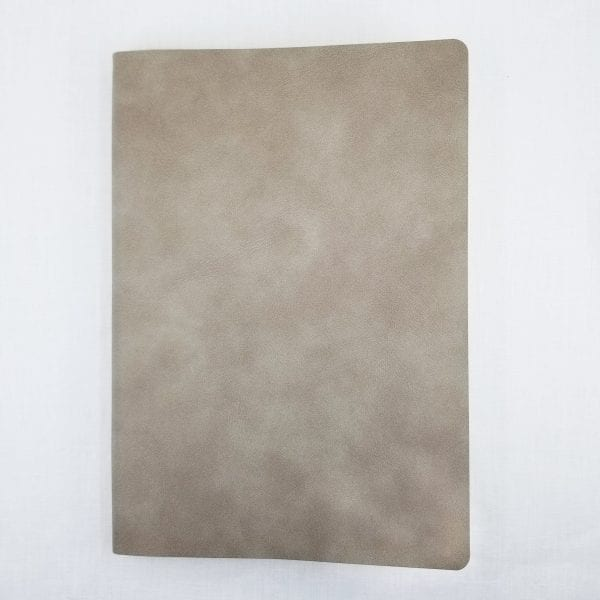 "Vegan Suede Journal has 192 lined pages using soy inks for printing. Size: 5.75"" x 8"". Color: Mushroom"