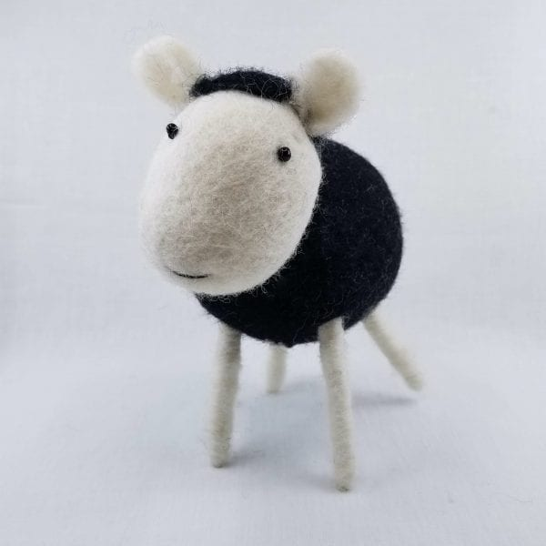 """Handmade felt sheep made by Nepalese women and certified as 100% Fair Trade. Color: Black. Size: 7.5""""H"""
