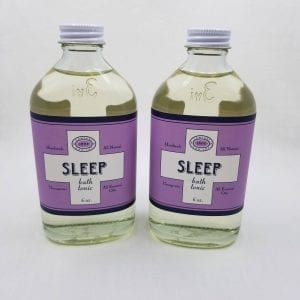 Sleep Bath Tonic is a moisturizing and calming blend of lemon, lavender and almond oils. 6 oz.