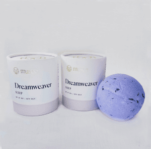 Dreamweaver Bath Balm has a soothing blend of chamomile and lavender. Drop in a tub of warm water and soak the stress away. 8 oz.