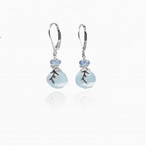 Chalcedony drops are topped with apatite briolettes
