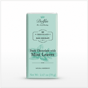 Dark Chocolate with Mint Leaves bar made in Belgium, 2.47 oz