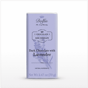 Dark Chocolate with Lavender bar made in Belgium, 2.47 oz