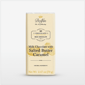 Milk Chocolate with Caramel and Salted Butter Bar made in Belgium, 2.47 oz