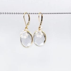 "Oval quartz and freshwater pearl drop earrings are finished with a gold-filled, lever back closure. The earrings measure 1.5"" long."