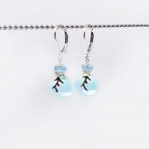 "Chalcedony drops have small apatite beads set above and the earrings are finished with sterling silver lever back closure. The earrings measure 1.25"" long."
