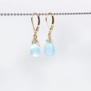 "Teardrop, cabochon cut chalcedony, with a cluster of topaz, earrings are finished with a gold-filled, lever back closure. The earrings measure 1.25"" long."