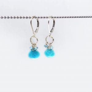 """Amazonite, apatite and blue topaz earrings are finished with a gold-filled, lever back closure. The earrings measure 1.5"""" long."""