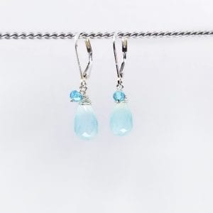 "Chalcedony and apatite drop earrings are finished with a sterling silver, lever back closure. The earrings measure 1.25"" long."