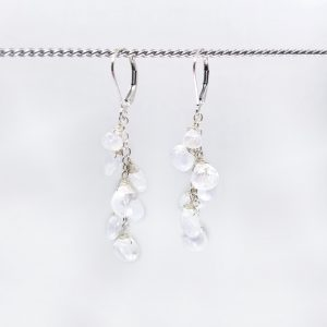 """Rainbow moonstone briolettes cascade down from sterling silver, lever back closures. The earrings measure 2"""" long."""