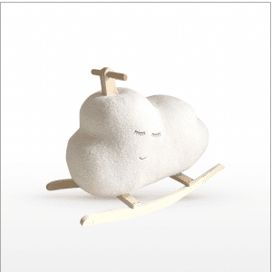 "Children's rocker in the shape of a fluffy cloud. The cloud features a sleeping face. A corduroy body with a poly-filled quilt saddle covers a sturdy frame. Wipes clean with a damp cloth. Size: 12""H x 30""L"