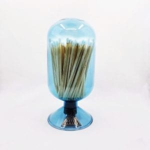 """Glass cloche design match holder with corked bottom holds 120 4"""" matches. Strike plate on back. Color: Sky"""