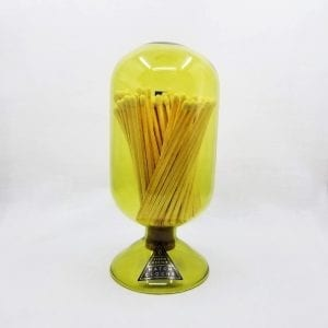 """Glass cloche design match holder with corked bottom holds 120 4"""" matches. Strike plate on back. Color: Moss"""