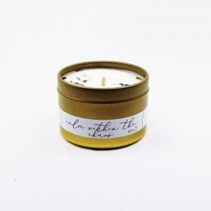 Calm Within The Chaos travel soy candle by Janet Gwen. Lavender, eucalyptus and mint blended to create a calming experience. Size: 4 oz, burn time 28 hours.