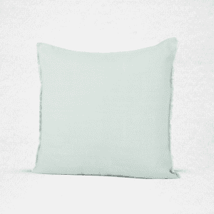 "Linen pillow with eyelash fringe. Measures 18""x18"". Color: Celadon"
