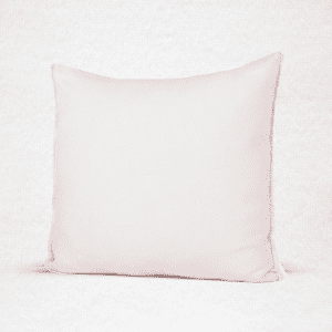 "Linen pillow with eyelash fringe. Measures 18""x18"". Color: Pink"