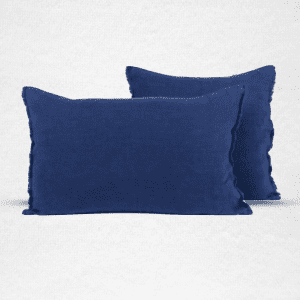 "Linen pillow with eyelash fringe. Measures 18""x18"". Color: Indigo"